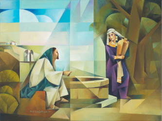 Modern painting of Jesus talking with the woman at the well.
