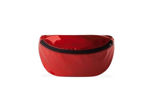 Сумка на пояс гелевая блестящая красная