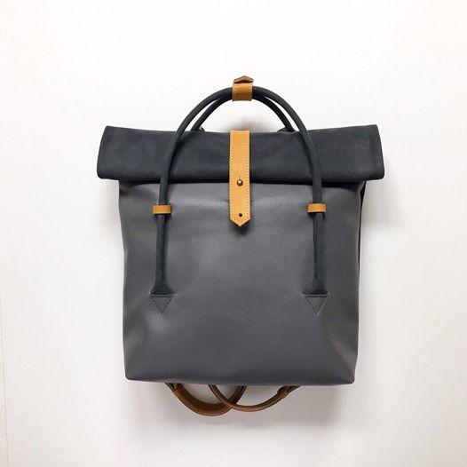Кожаный рюкзак-сумка Rolltop Gray/Wheat Field