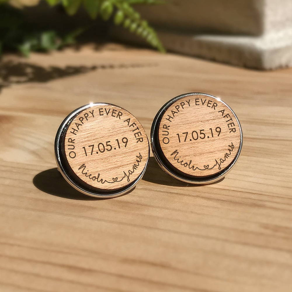 Personalised Cherry Wood Cufflinks