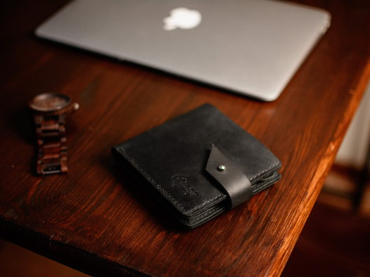 Кожаный мужской кошелек -ROCKY RIDGE- цвет Черный Уголь