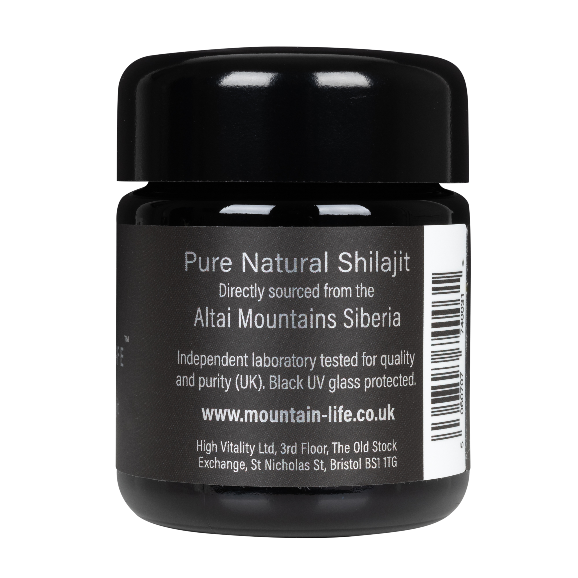 Mountainlife Natural Shilajit 60 capsules in UV glass jar side on shot
