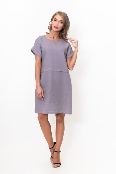 Льняное платье футляр (серый)