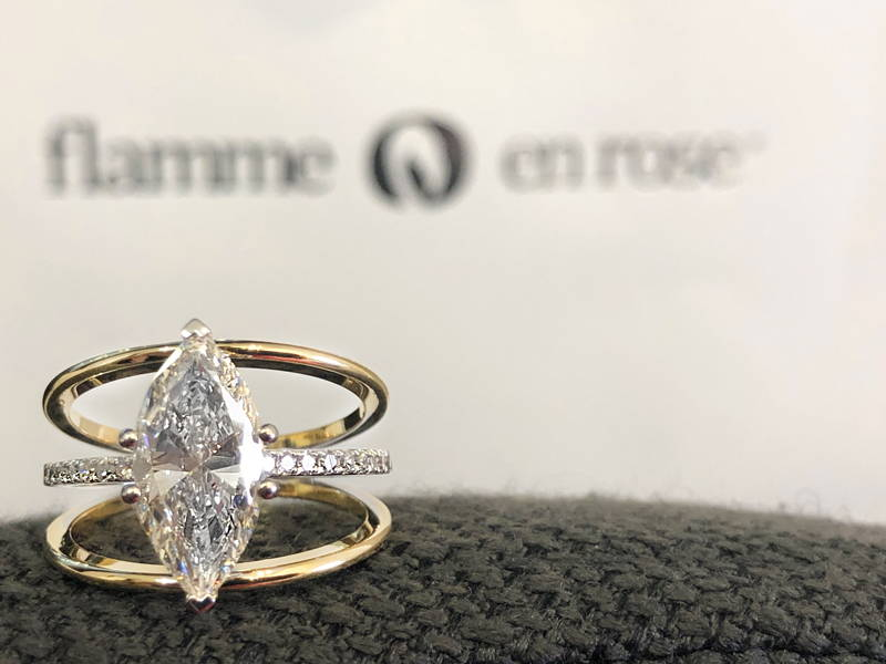 Semi-ternity triple solitaire ring with pear diamonds