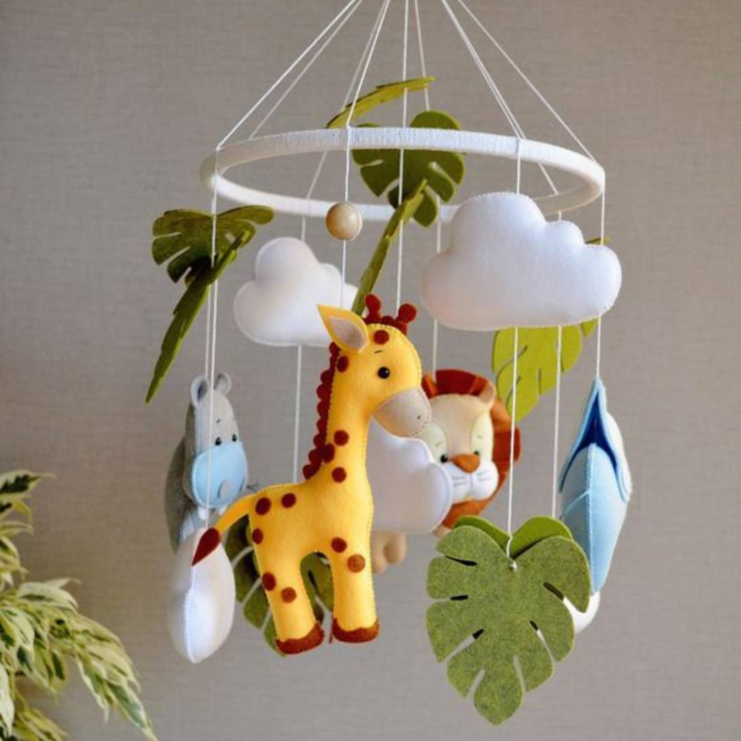 Animal safari themed overhead crib mobile