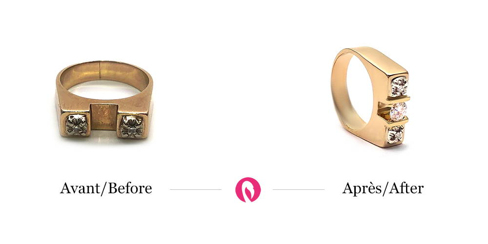 Transformation of a two-diamond Gothic style yellow gold ring into a ring in the same style with improved and modern three-diamond setting