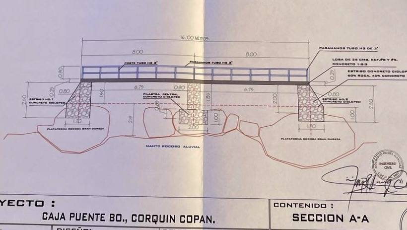 Construction plans for a new bridge in Corquin, Honduras.