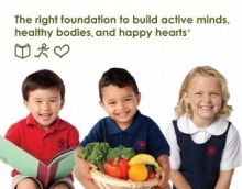 A Primrose student smiles, another one joyfully holds a basket full of vegetables and the third student happily reads a book