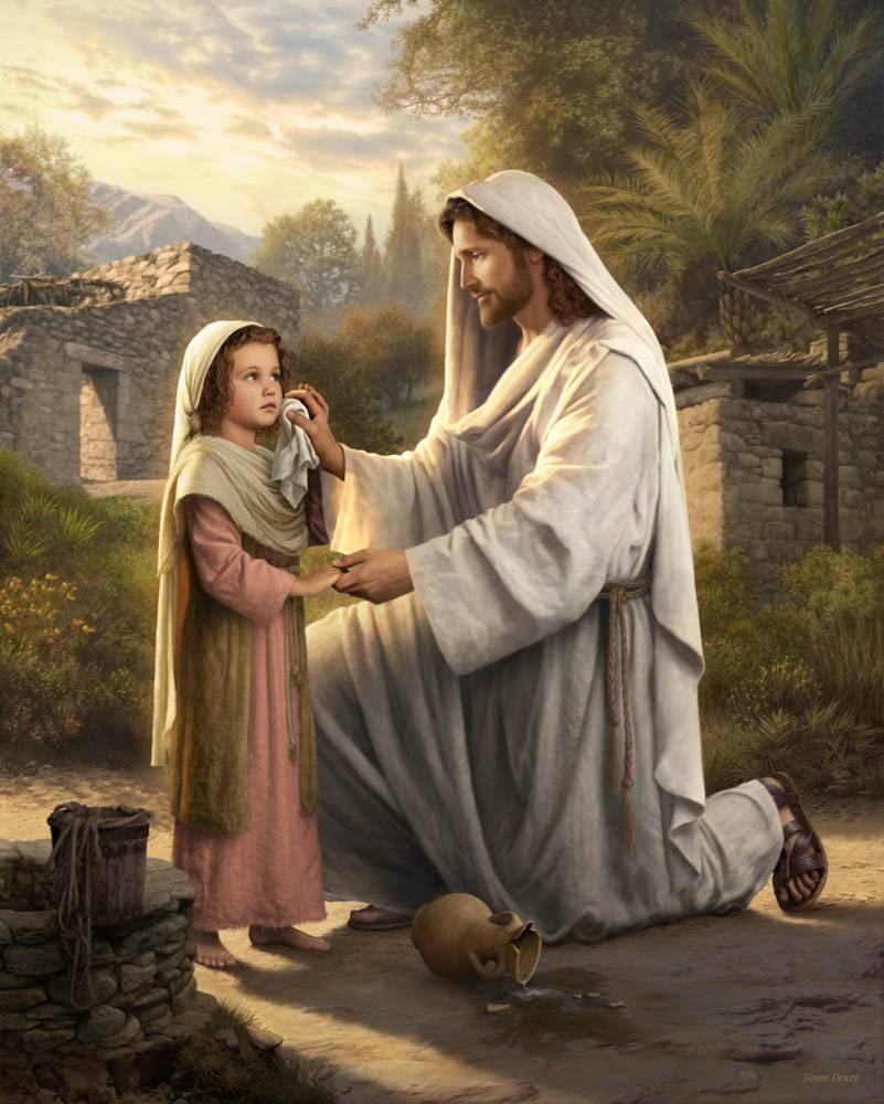 A painting of Christ comforting a young girl.