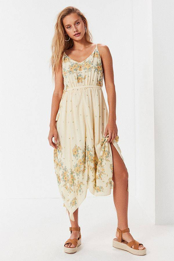 floral pale yellow spring dress from urban outfitters