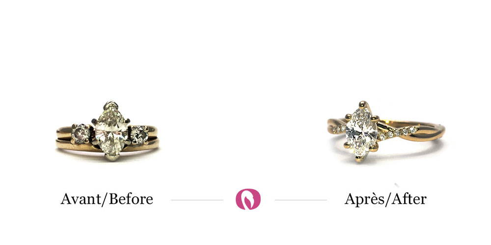 Upcycling of a ring with a marquise diamond in the center into a thinner solitaire-style ring