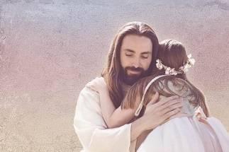 LDS art painting of little girl giving Jesus a hug.
