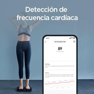 Amazfit Smart Scale - Detección de frecuencia cardíaca de pie.