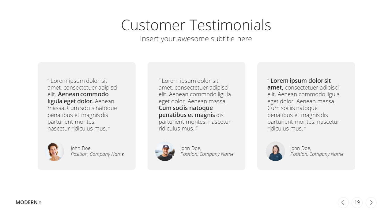 Modern X Sales Deck Presentation Template Testimonials