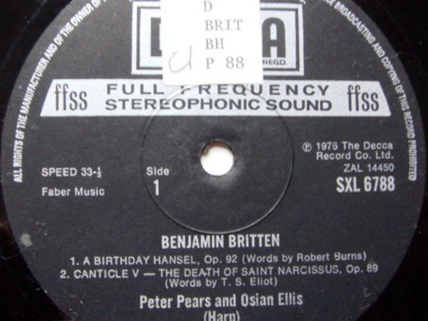 DECCA SXL-NB-ED5 / PEARS-ELLIS, - Britten: A Birthday Hansel, Suite for Harp, NM-!