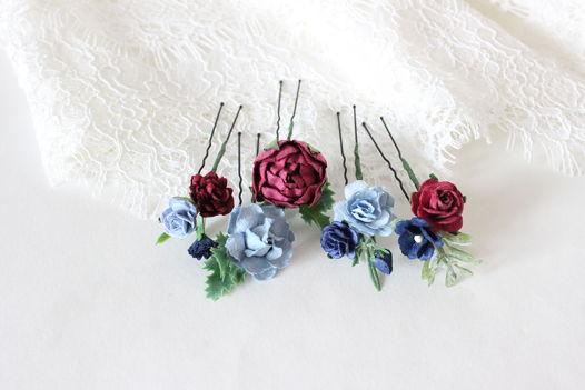 Шпильки с бордовыми и голубыми цветами 5шт, шпильки в прическу