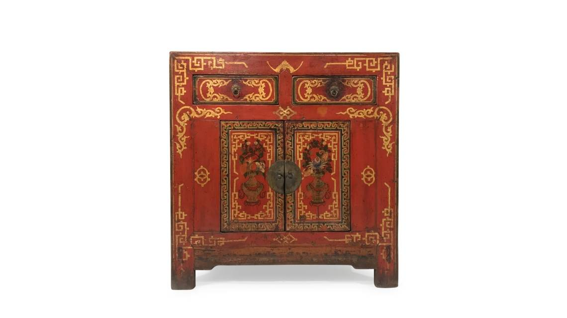 Beautiful & Unique Antique Painted Mongolian Cabinets & Furniture From Mongolia | Indigo Antiques