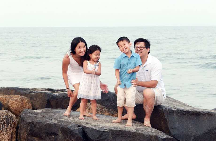 Franchise Owners of Primrose School Burt Eng and Linda Chen with their family