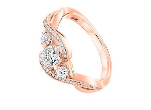 Rose gold twisted shoulder diamond engagement ring - Pobjoy Diamonds