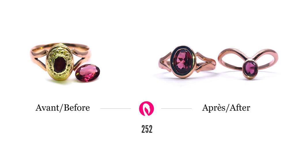 Transformation d'une ancienne alliance en bagues en or rose avec rubis