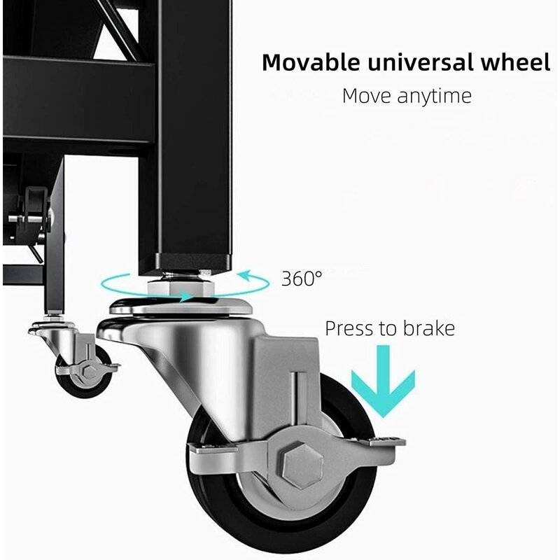 rolling rack, shelf with wheels, 360 wheels, wheels with smart lock, rollling shelf