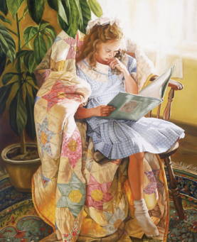 Painting of little girl sitting in a rocking chair next to a sunlight window reading.