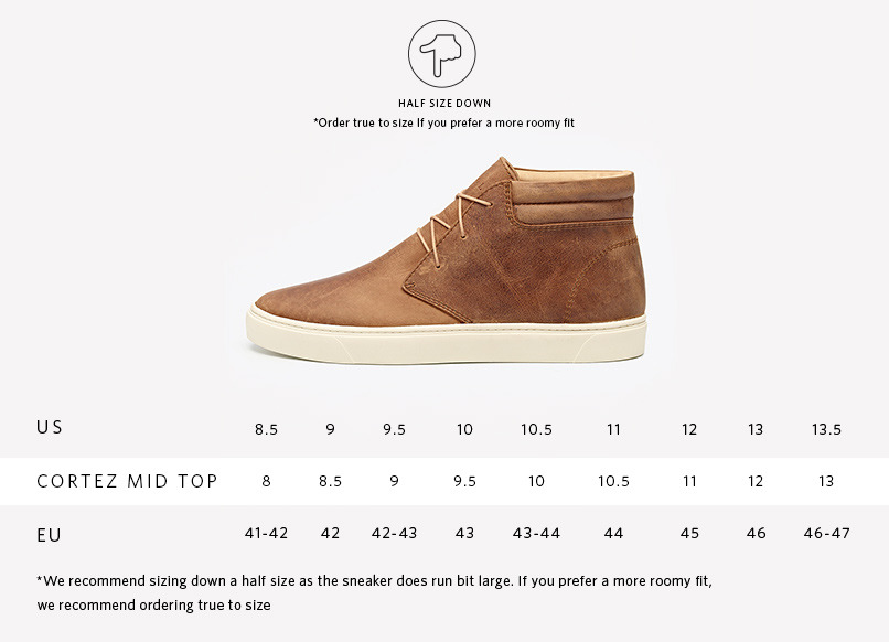 Nisolo Men's Leather Mid Top Sneaker Sizing Guide