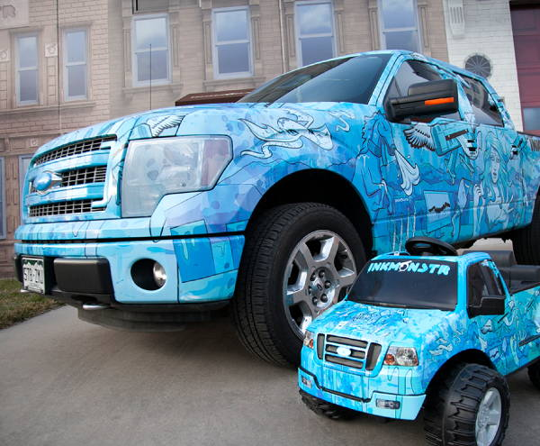 Vinyl Vehicle Wraps - Blue Ink Monstr Truck Wrap, Mini Truck Wrap