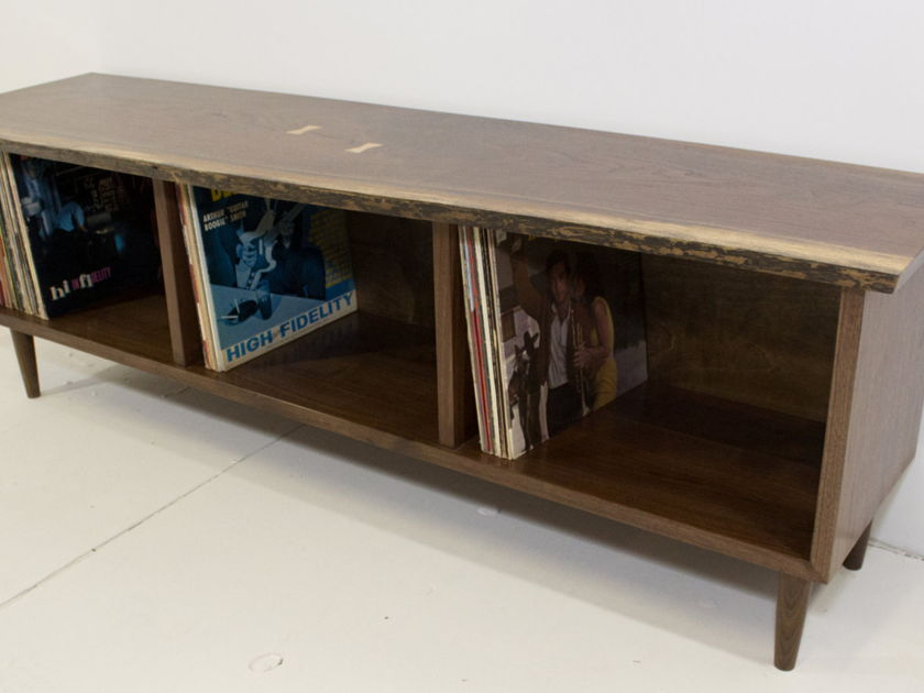 Gideor Rettich Woodworker Live Edge Walnut Record Bin Live Edge Walnut Record Bin/Console