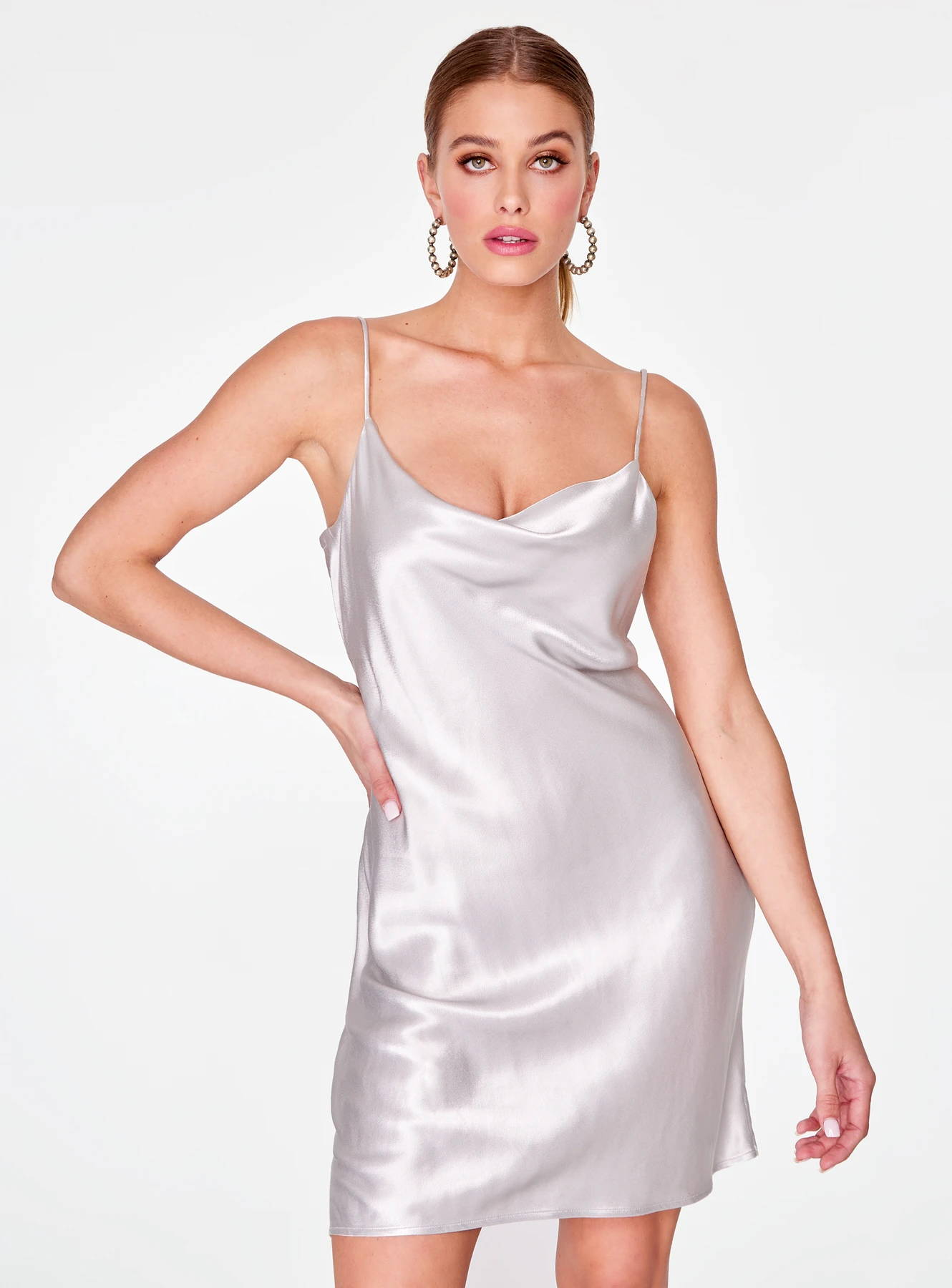 Silver Cowl Neck Satin Slip Dress