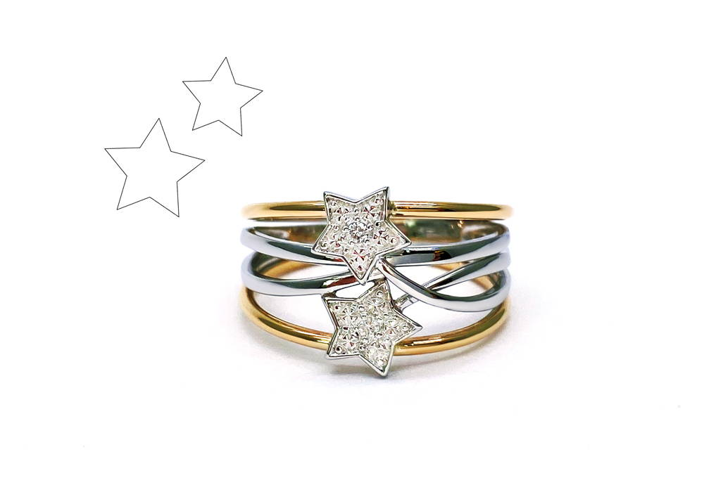 ring with several intertwined two-tone bodies with two star-shaped centres paved with diamonds.