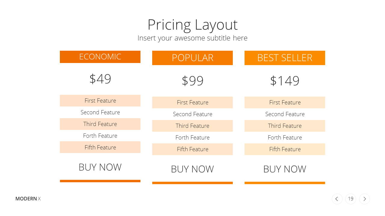 Modern X Presentation Template Business Plan Pricing