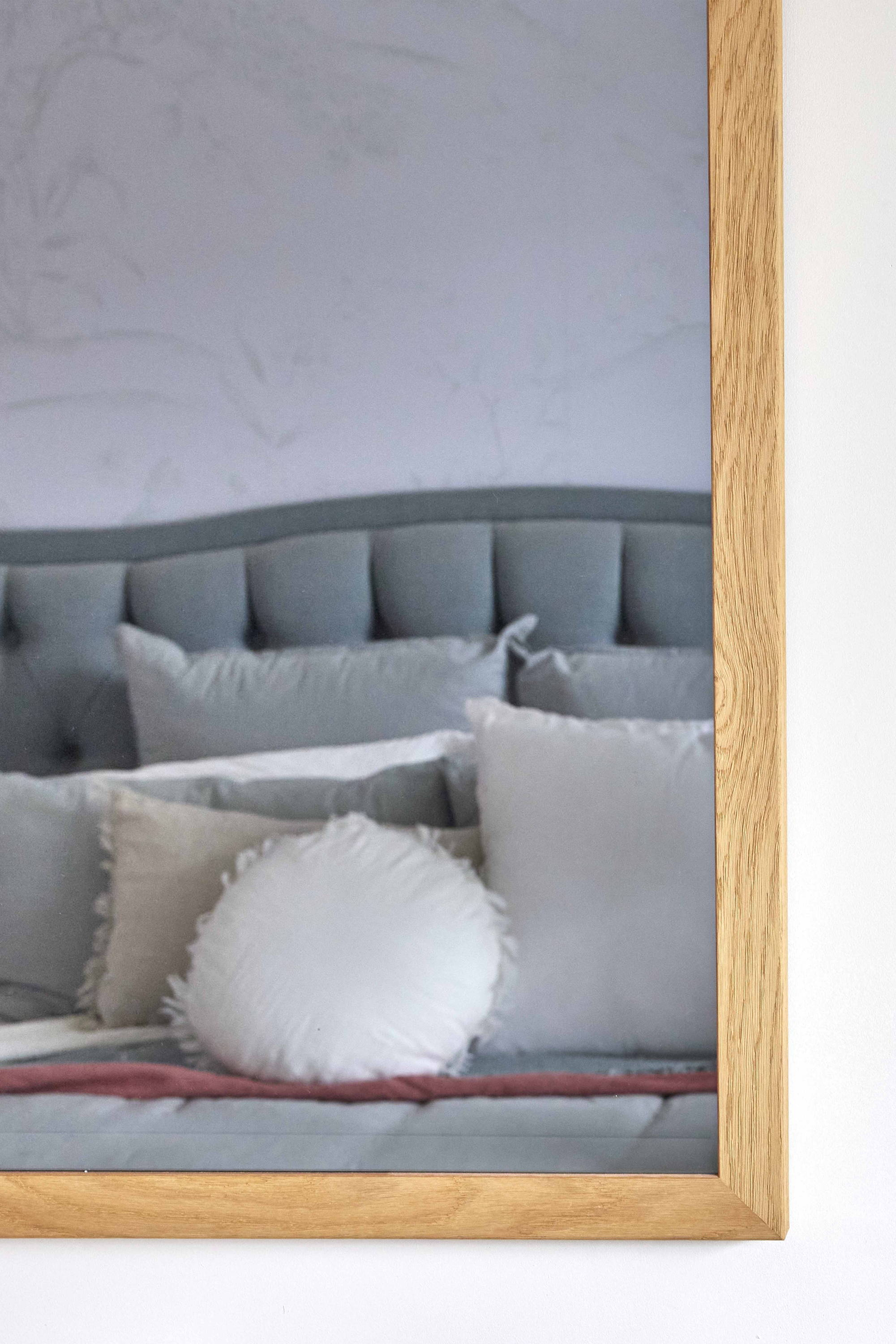 TV-Mirror Modern Rustic Oak Frame by FRAMING TO A T - A TV-Mirror with an oak frame in a light, fresh bedroom.