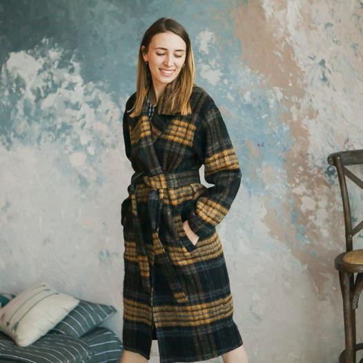 Пальто-халат в клетку из итальянской шерсти