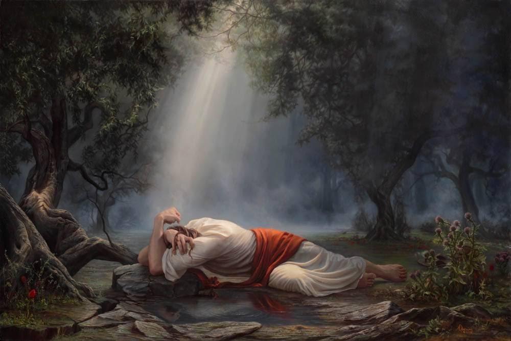 Painting of Jesus suffering at Gethsemane.