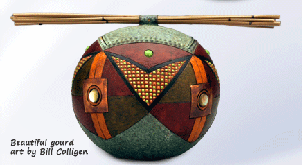 Gourd art by Bill Colligen