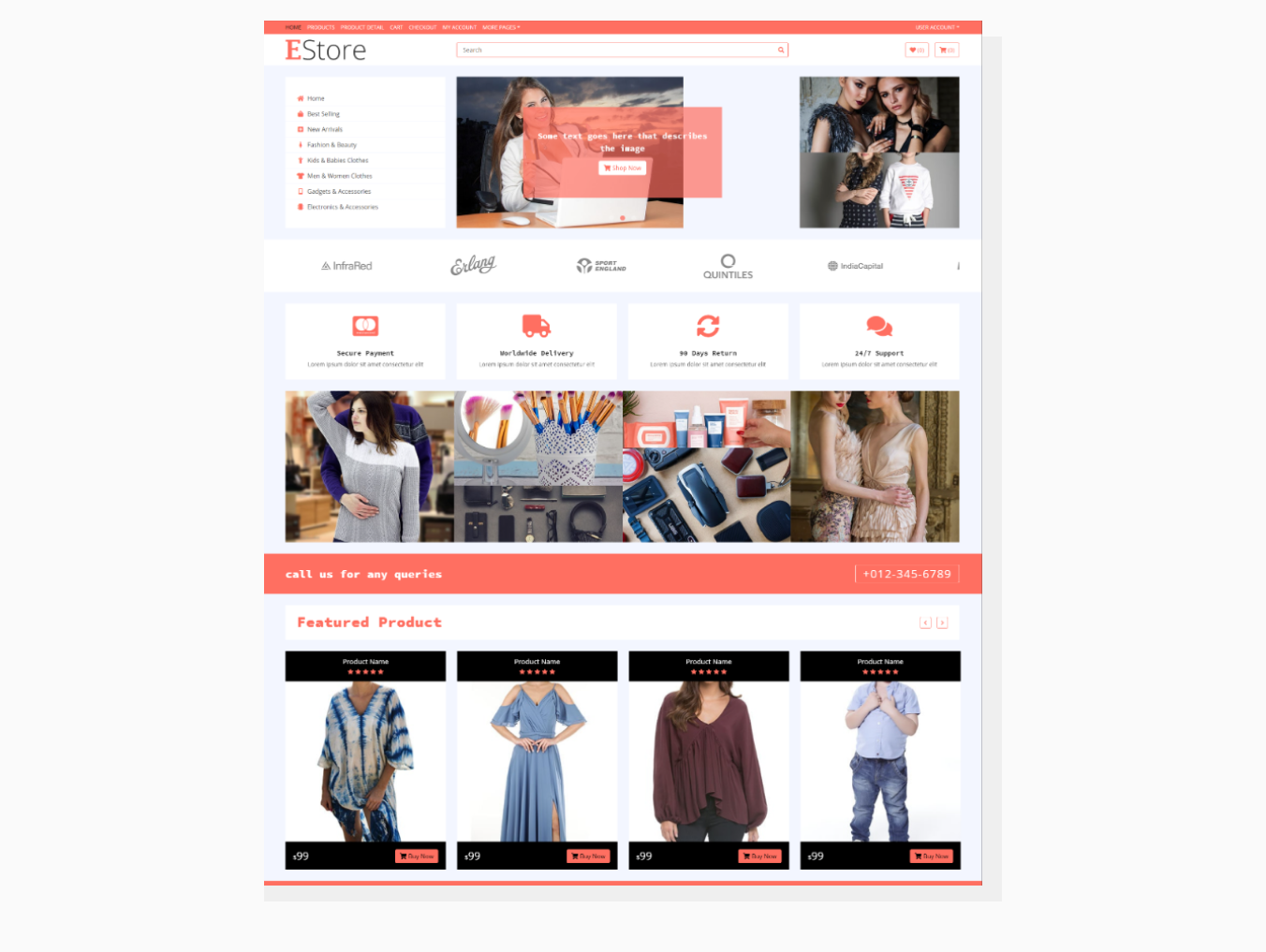 """E Store – eCommerce HTML Template"""" template by HTML Codex"""