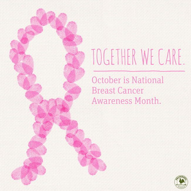 Pink ribbon with wording Together We Care