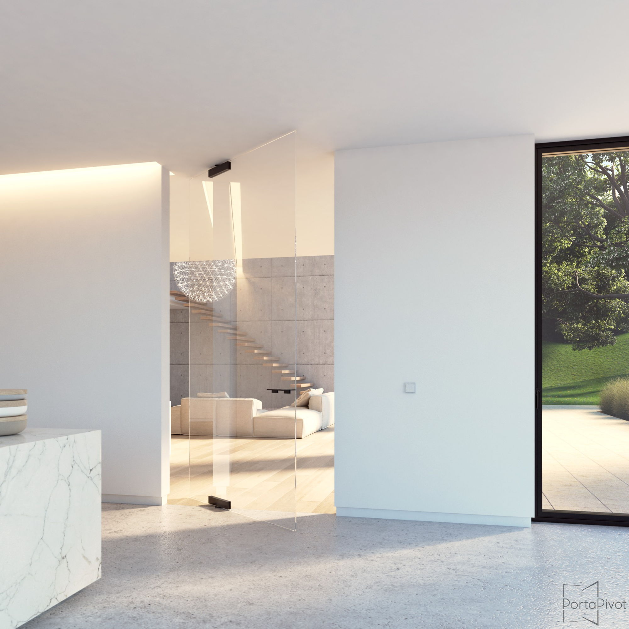 glass pivot door with elegant offset axis glass patch fittings