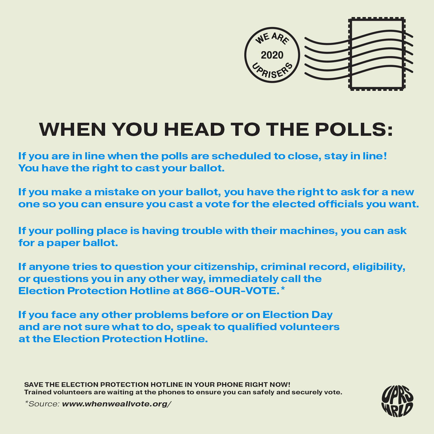 know your voting rights on election day 2020 uprisers