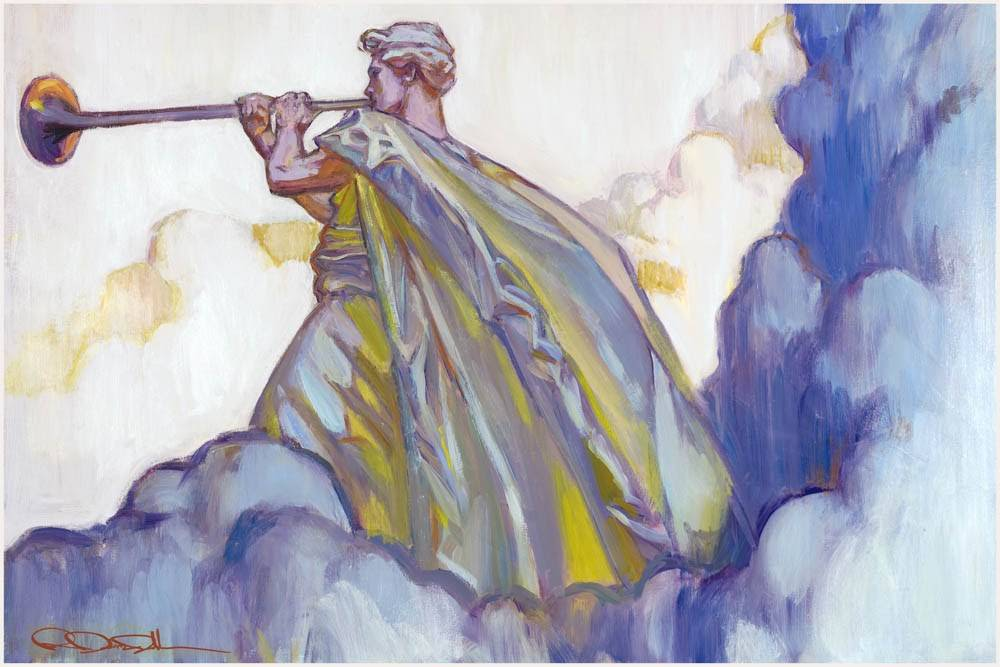 LDS art painting of the angel Moroni standing in the clouds blowing his trumpet.