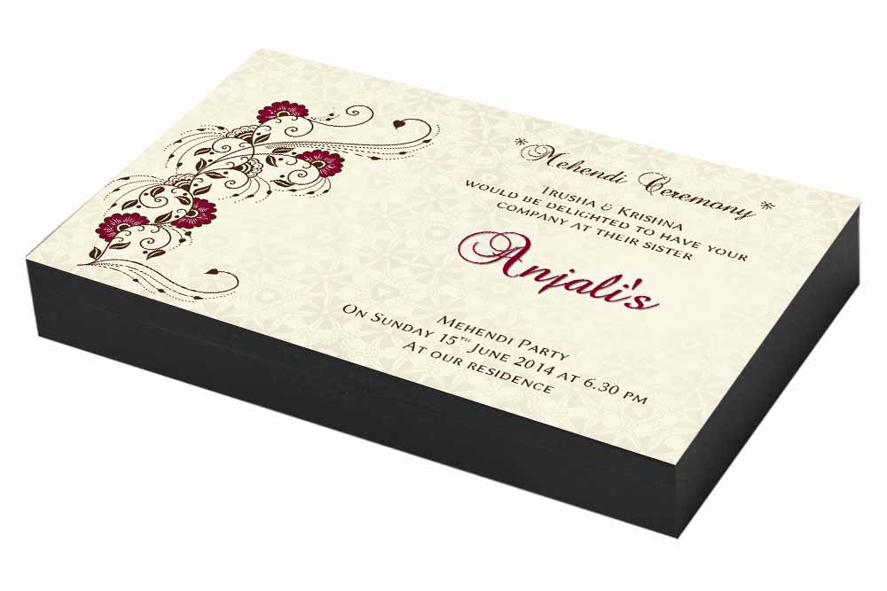Floral Mehndi ceremony Invitation