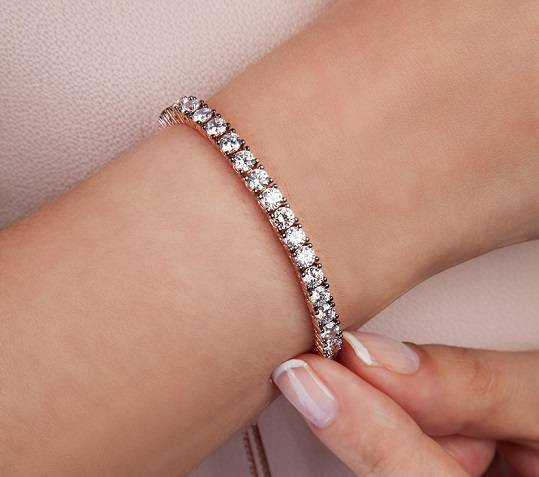 Diamond tennis bracelet in platinum  6.5 carat weight from Pobjoy Diamonds in Surrey