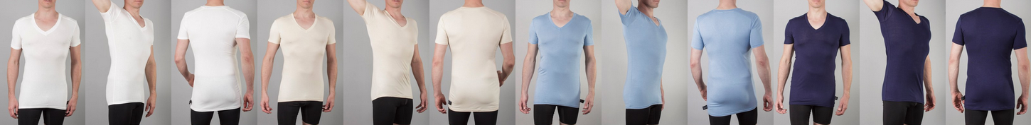 A picture of a strip of v-neck undershirts in four colours