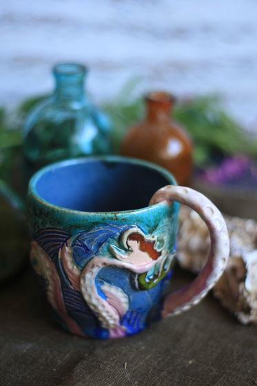Керамическая кружка Осьминог и русалка