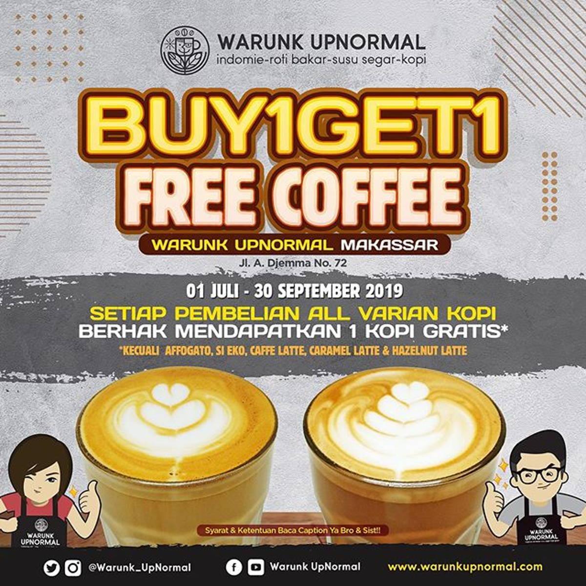 Katalog Promo: Warunk Upnormal Makassar: Promo BUY 1 GET 1 FREE Coffee - 1