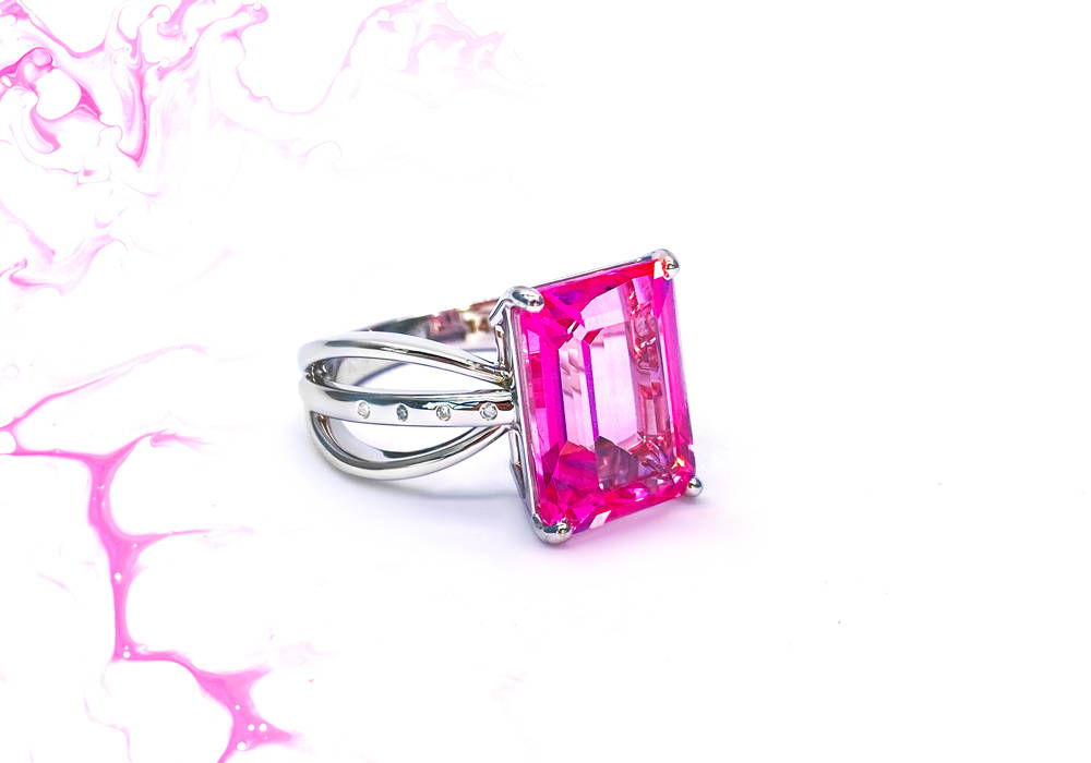 White Gold Multi-Stem Ring with Rectangular Cut Pink Synthetic Stone on Claws