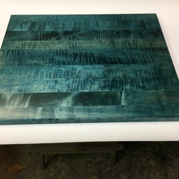 Timbernation Finished Tiger Maple  in Sea Blue Stain Stereo Isolation Platform,