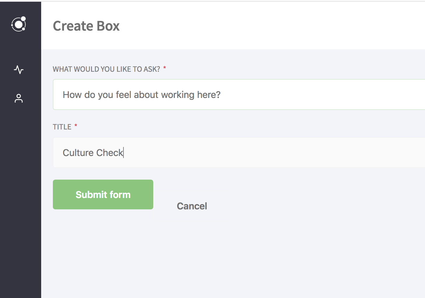 Screenshot example of creating a digital suggestion box in Candidly