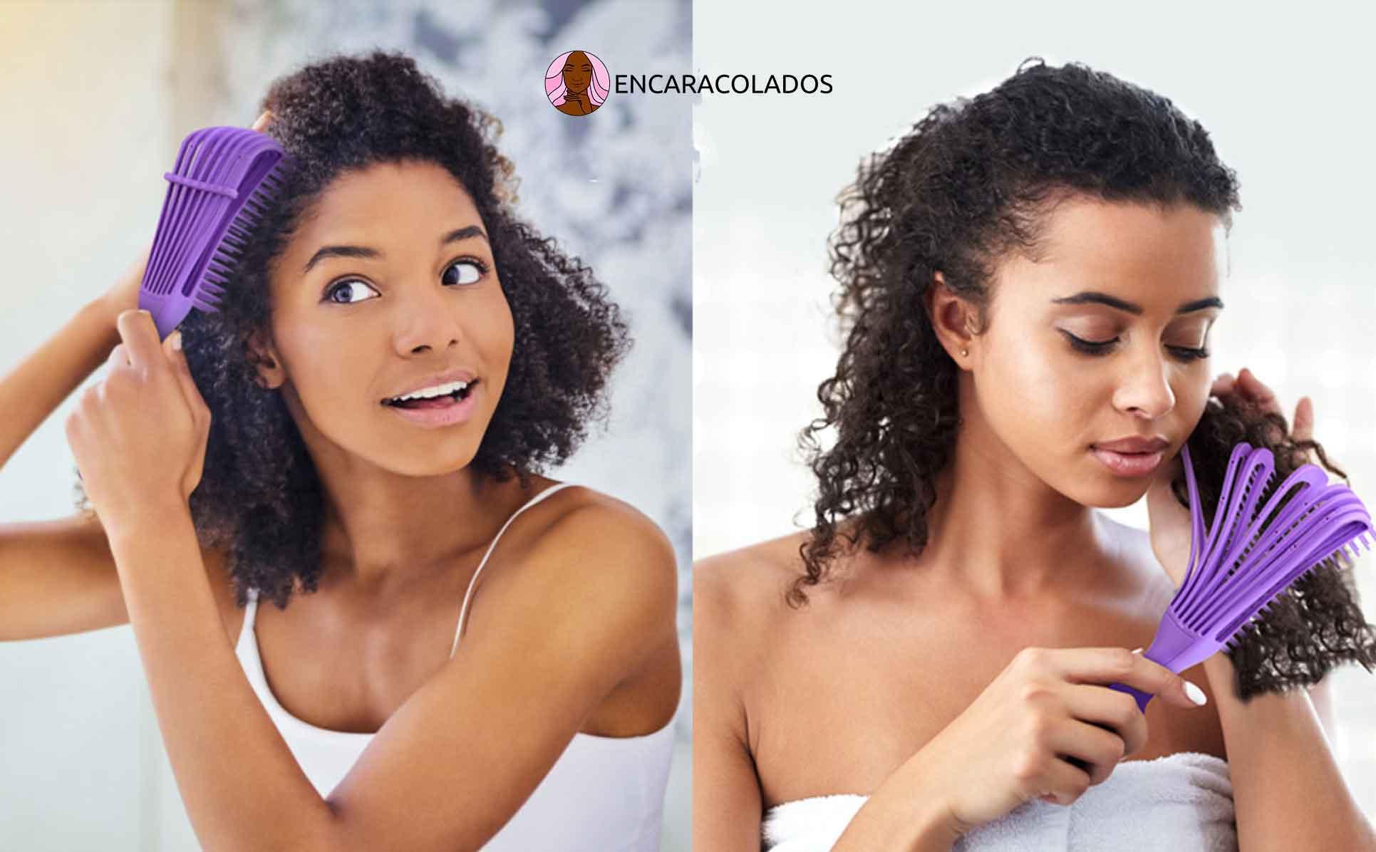 A melhor escova para cabelo cacheado, como pentear cabelo crespo e cacheado, Escova de cabelo roxa, escova com cerdas flexíveis